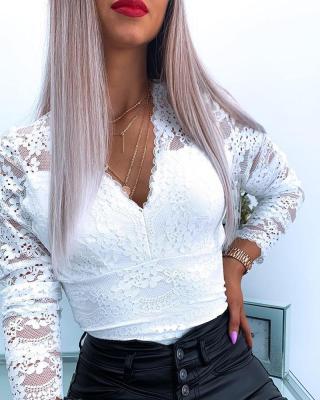 Autumn Elegant White Lace V-Neck Basic Top