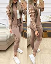 Autumn Casual Sequins Top und Hosen Zipper Trainingsanzug