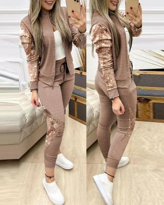 Survêtement à glissière haut et pantalon à paillettes décontractées d'automne