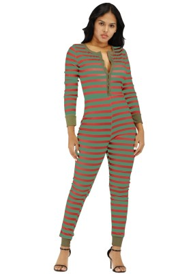 Christmas Women Stripes Button Up Onesie Pajama