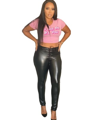 Winter Leather Black Lace Up Tight Pants