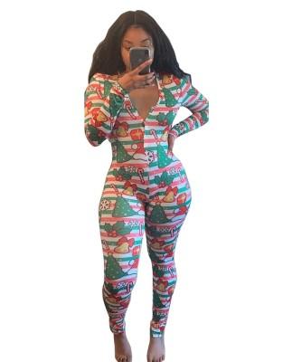 Christmas Women Print Button Up Onesie Pajama
