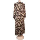 Herbst afrikanische Leopardenmuster lange Bluse