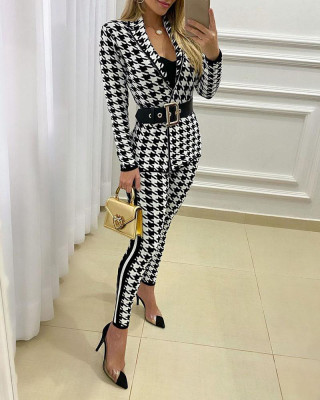 Autumn Elegant White and Black Print Two Piece Blazer Suit