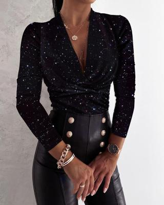 Autumn Elegant Sparkly Black Dripped Sexy Basic Shirt