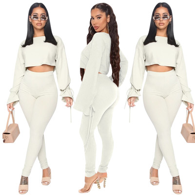 Autumn Matching Solid Plain Crop Top and Pants Set