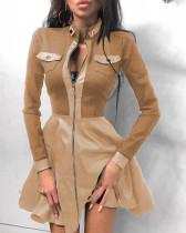 Herbst Elegantes Leder Khaki Reißverschluss A-Linie Freizeitkleid