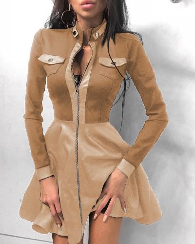 Herfst elegante lederen kaki rits A-lijn casual jurk