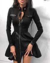 Herbst Elegantes Leder Schwarz Reißverschluss A-Linie Freizeitkleid