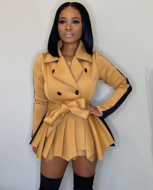 Winter Matching Two Piece Contrast Coat and Shorts Set