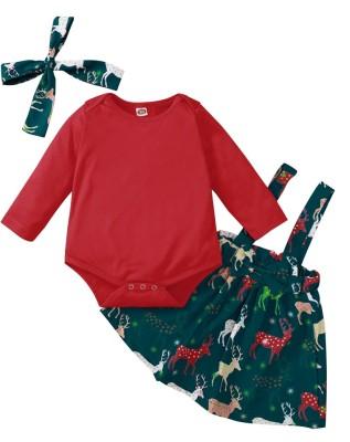 Conjunto de falda de 3 piezas de Navidad para bebé niña