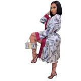 Africa Dollar Print Langer Mantel mit vollen Ärmeln