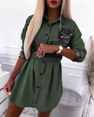 Autumn Casual Green Sequins Blouse Dress