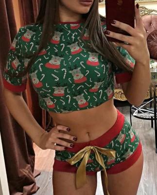 Christmas Women Print Crop Top and Shorts Pajama Set