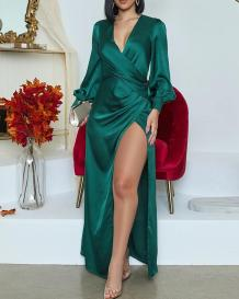 秋のエレガントなグリーンラップロングイブニングドレス