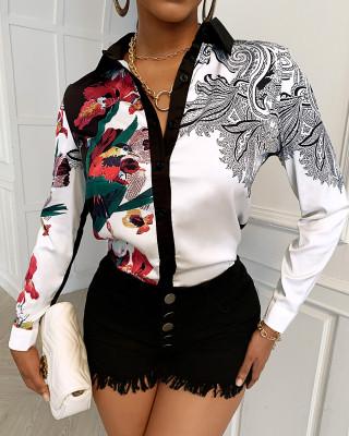 Autumn Elegant Floral Button Up Office Blouse
