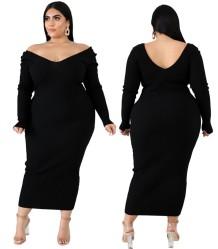 Осеннее вязанное длинное пышное платье с V-образным вырезом больших размеров