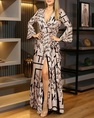 Robe de soirée longue enveloppée à imprimé élégant occasionnel