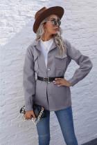 Jaqueta de bolso lisa outono sólida com botões