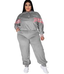 Plus-size herfststrepen hoodie sweatsuit
