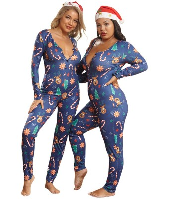 Plus Size Christmas Print Onesie Jumpsuit Pajama