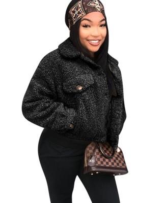 Winter Black Polar Fleece Black Short Jacket