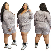 Plus Size Autumn Sequins Hoodie Jacket and Shorts Set