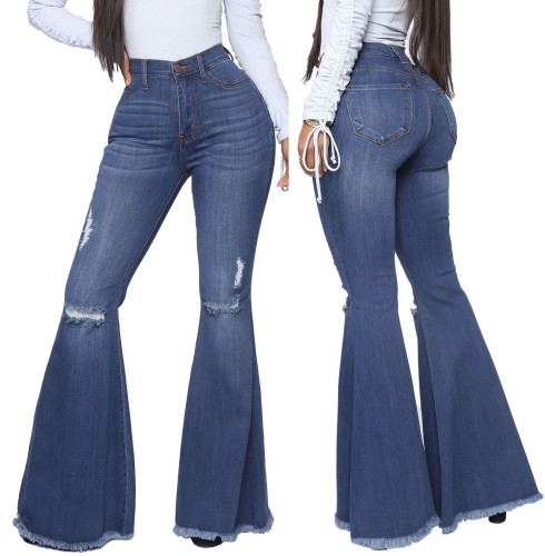 Stylish High Waist Ripped Flare Jeans