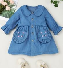 女の赤ちゃん秋のブルーデニムAラインドレス
