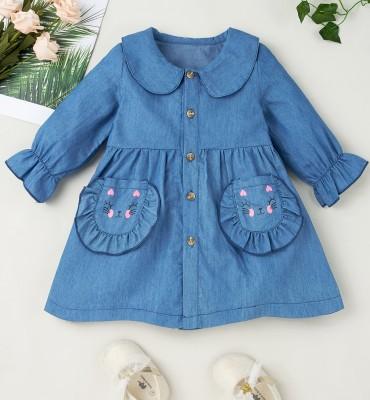 Robe trapèze en denim bleu automne bébé fille
