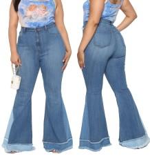 Контрастные расклешенные джинсы больших размеров с высокой талией