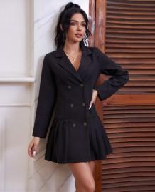 Robe blazer plissée noire élégante d'automne