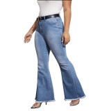 Plus Size Regular Flare Jeans mit hoher Taille