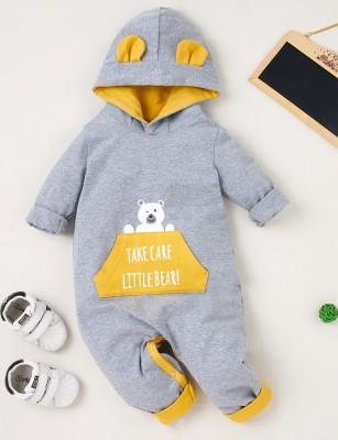 Barboteuses à capuche de dessin animé d'hiver pour bébé garçon