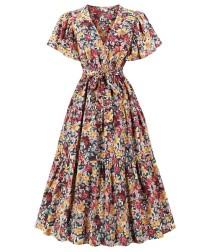 秋のエレガントなフローラルVネックヴィンテージウエディングドレス
