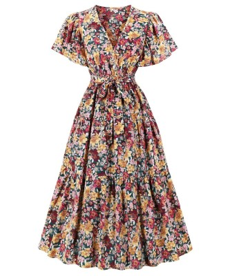 Robe de bal vintage élégante à col en V floral
