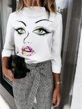 秋のプリントホワイトエレガントシャツ