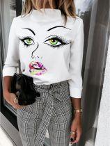 Camicia elegante bianca con stampa autunnale