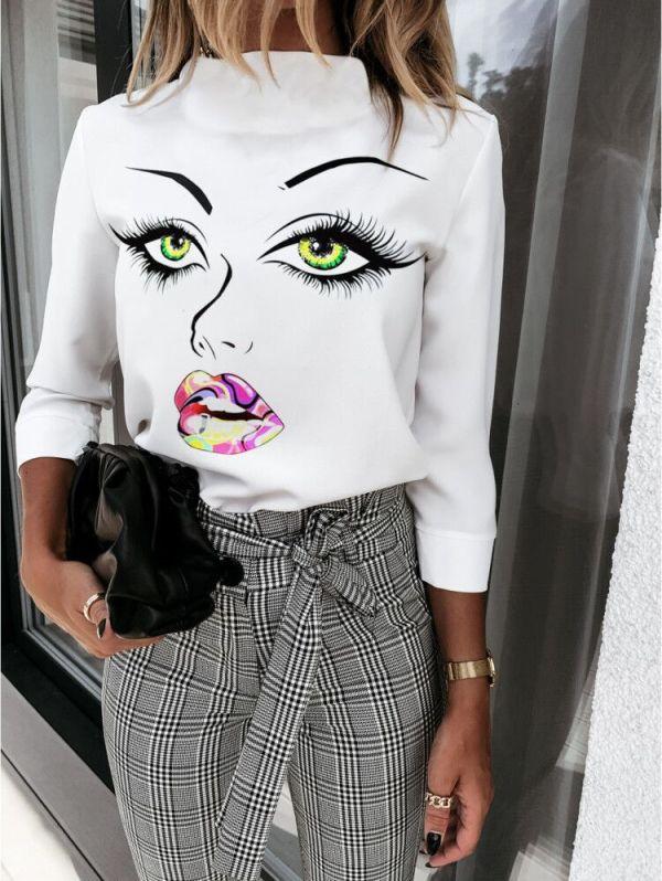 Camisa elegante branca com estampa de outono