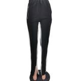 Winter Contrast Zipper Slit Bottom Track Hose
