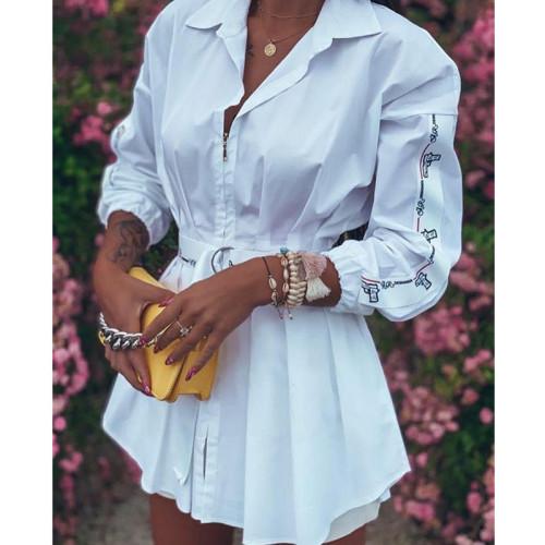 Witte blousejurk met herfstprint en riem