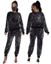 Camicia e pantaloni con paillettes autunnali con copritesta abbinato