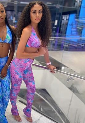 Ensemble de soutien-gorge et pantalon sexy à imprimé assorti