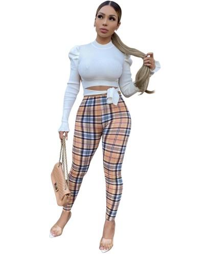 Najaar geruite print hoge taille strakke broek