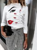 Elegant wit overhemd met herfstprint