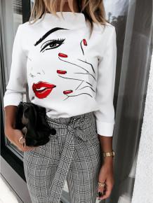 Autumn Print White Elegant Shirt