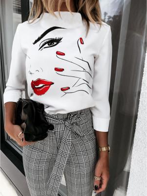 Chemise élégante blanche à imprimé automne