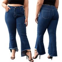 Jeans acampanados irregulares de cintura alta de talla grande