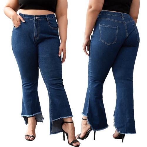 Plus Size High Waist Irregular Flare Jeans
