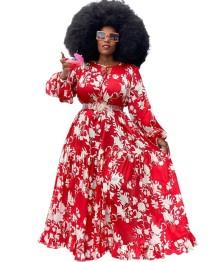 Plus grootte herfst Afrikaanse Floram lange maxi jurk